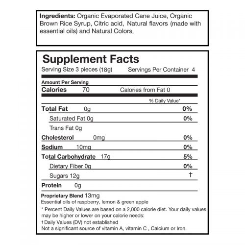 Organic Queasy Drops Nutrition Label
