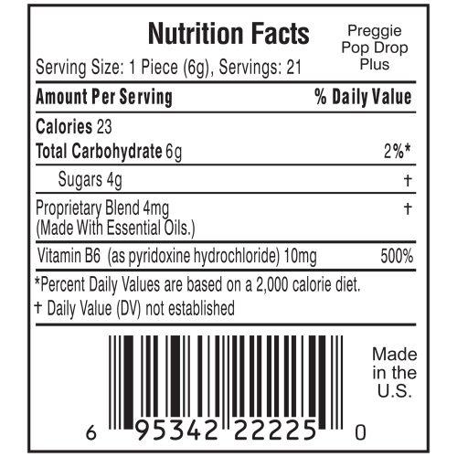 Preggie Pop Drop Plus Nutrition Label