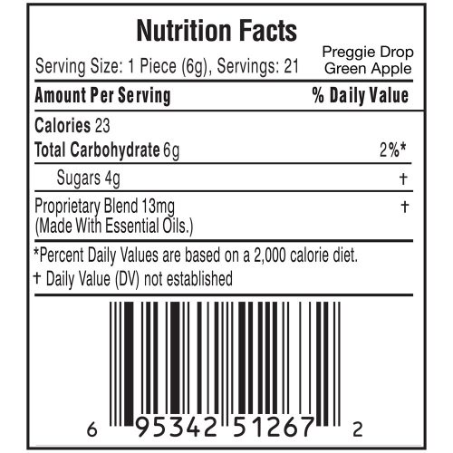 Preggie Drop Green Apple Nutrition Label