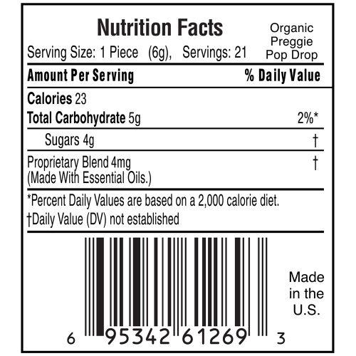 Organic Preggie Pop Drop Nutrition Label
