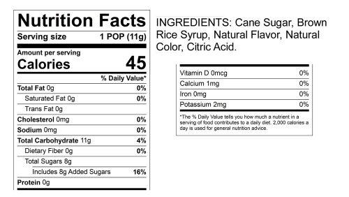 Stork Pops Nutrition Label