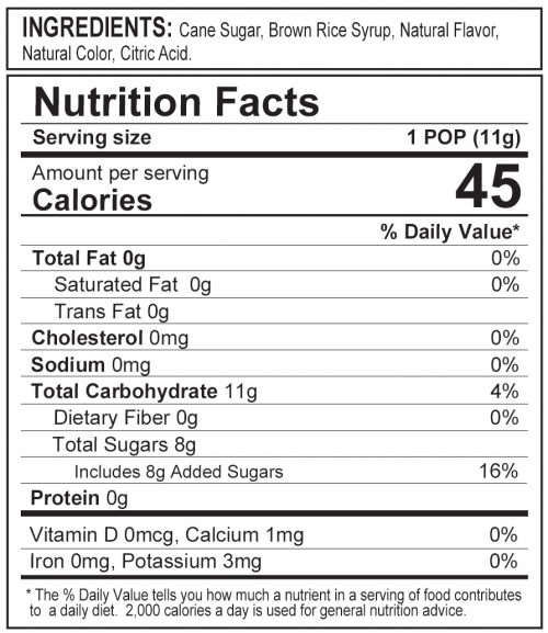 Stork Pops Blue Nutrition Label