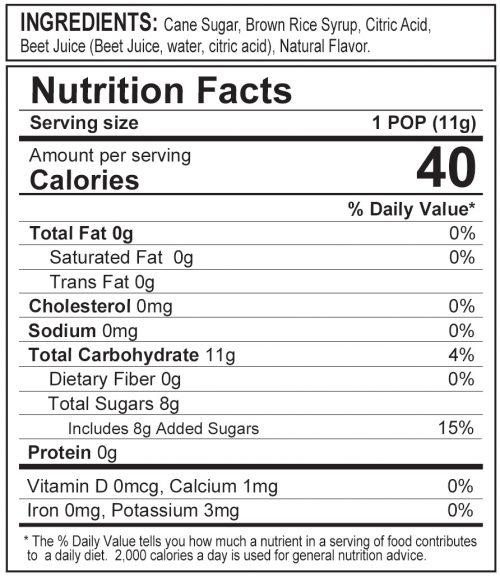 Stork Pops Pink Nutrition Label
